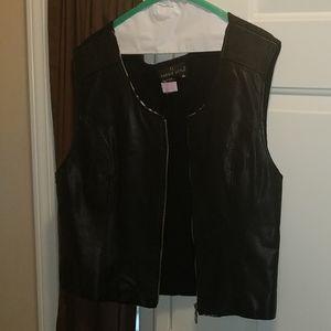 Zebra Stripped Leather Vest